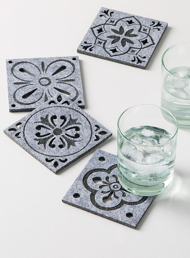 Simons Maison Grey Mosaic tile felt coasters  Set of 4