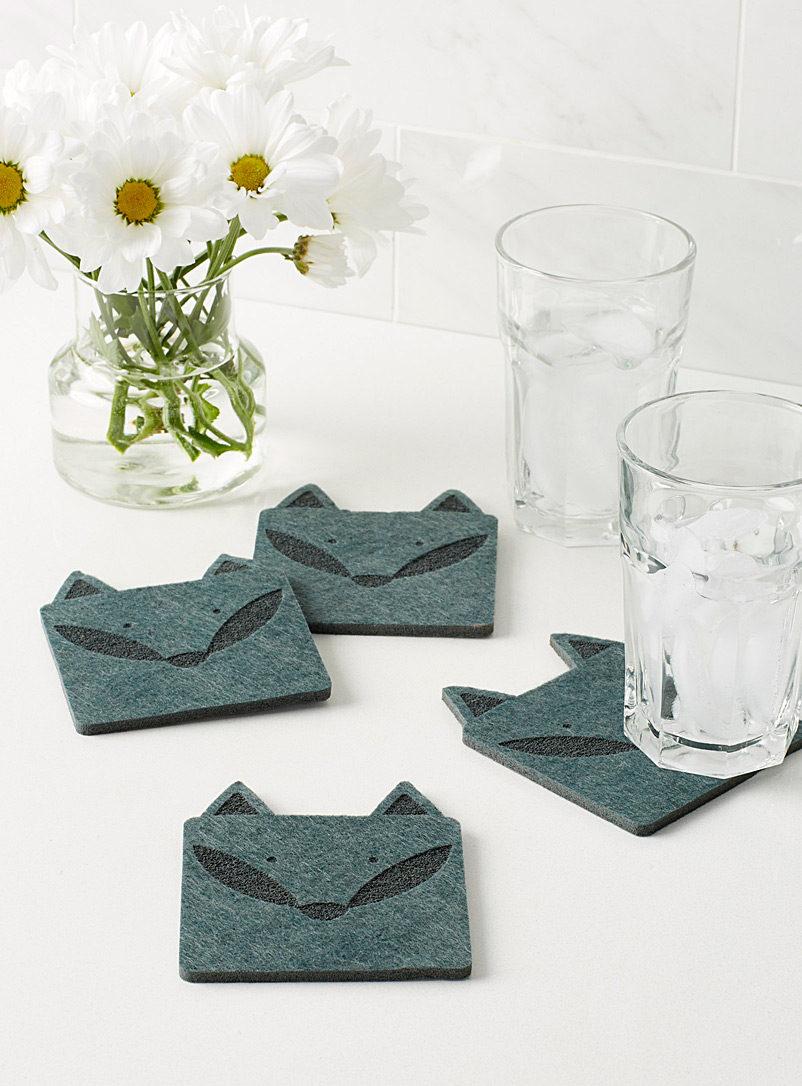 Winter fox felt coasters  Set of 4 - Trivets & Coasters - Charcoal