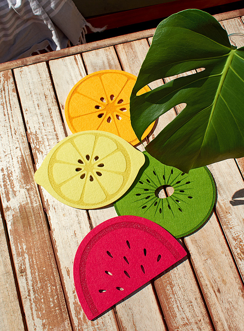 Simons Maison Assorted Fruit slices felt trivets  Set of 4