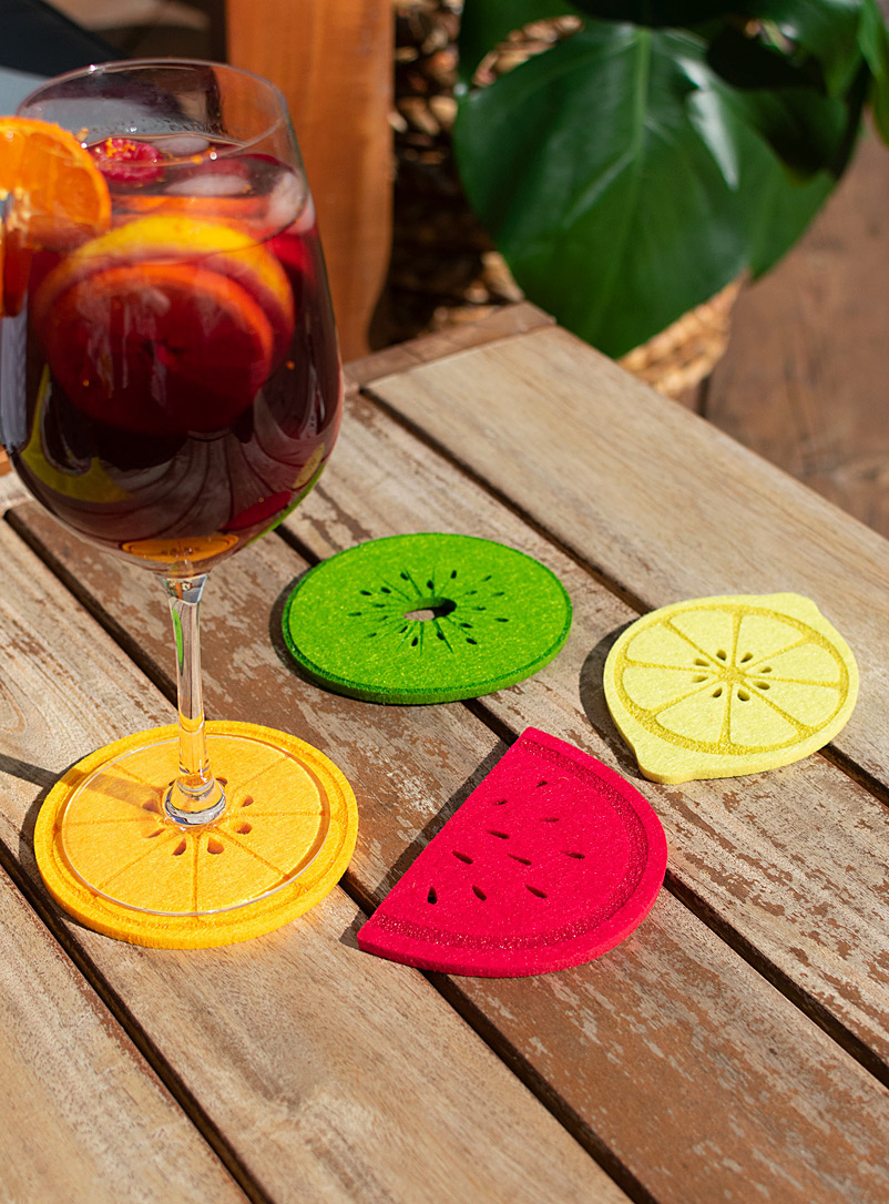Simons Maison Assorted Fruit slices felt coasters  Set of 4