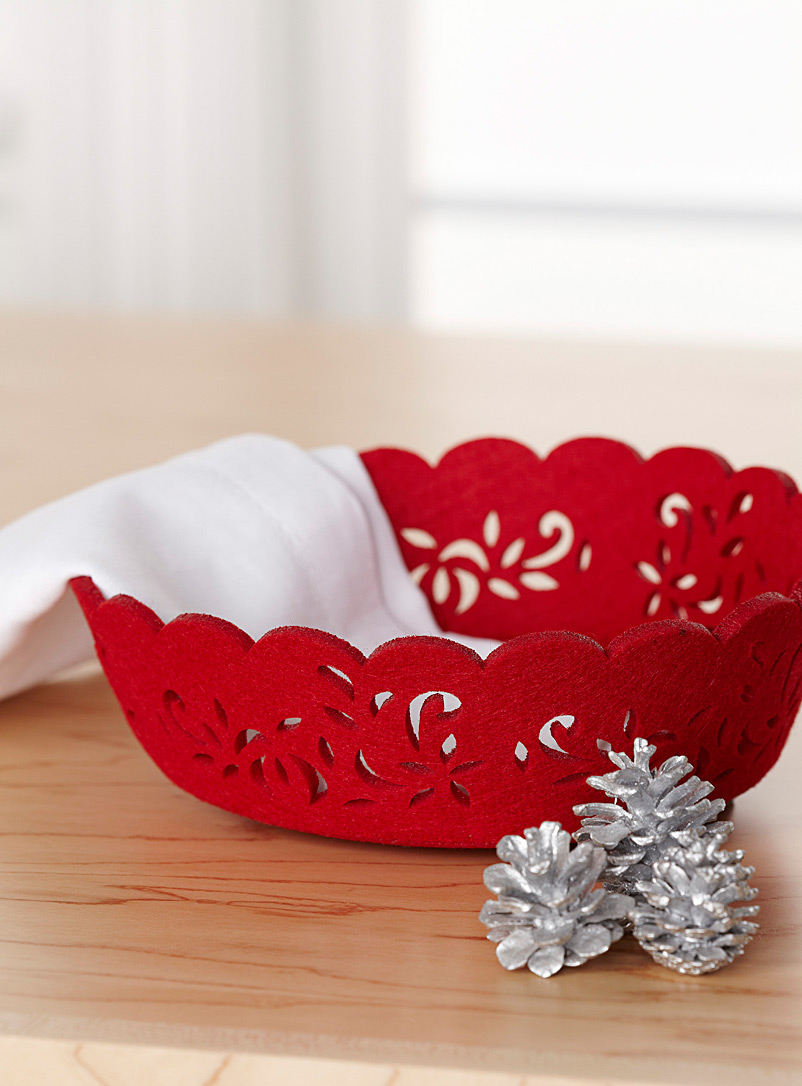 Festive red felt basket