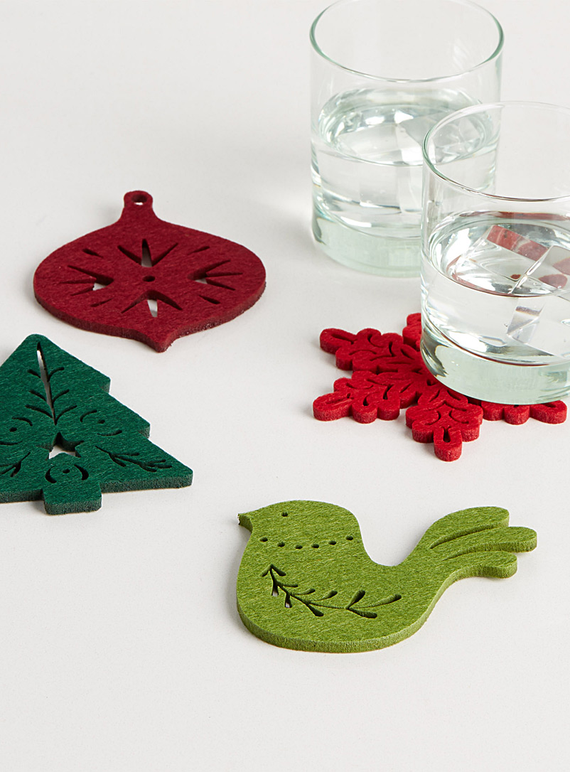 Christmas magic felt coasters  Set of 4 - Trivets & Coasters - Red