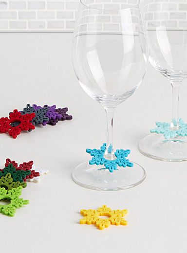 Snowflake felt glass markers  Set of 12