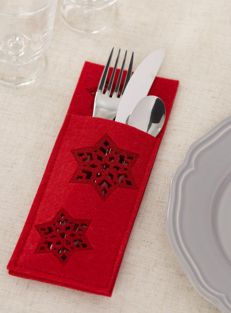 Geo snowflakes cutlery pocket - Useful & Chic Extras - Red