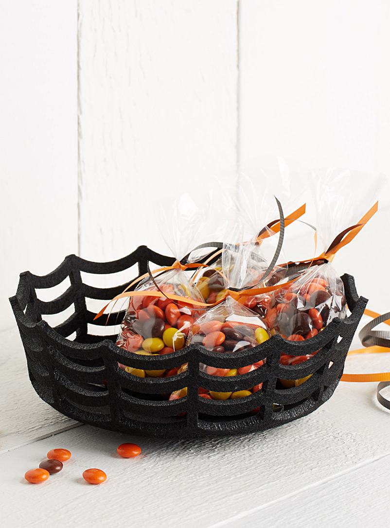 Cobweb felt basket - Fruit Bowls & Baskets - Black