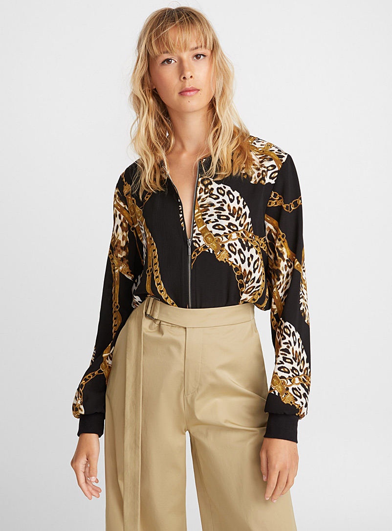 Patterned crepe bomber jacket - Bomber Jackets - Patterned Black