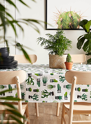 Cacti and succulents vinyl tablecloth