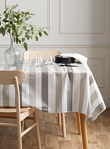 Herringbone stripe vinyl tablecloth