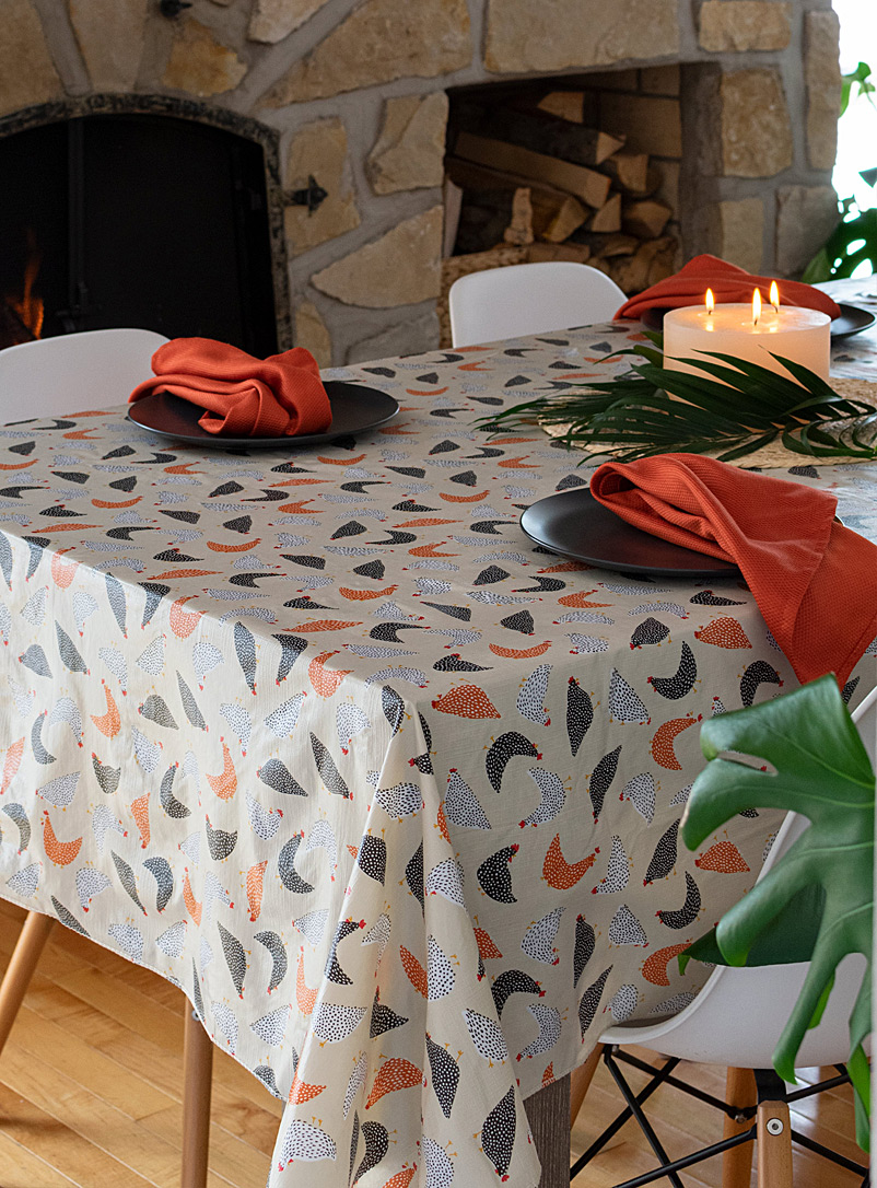 Simons Maison Assorted Hens vinyl tablecloth