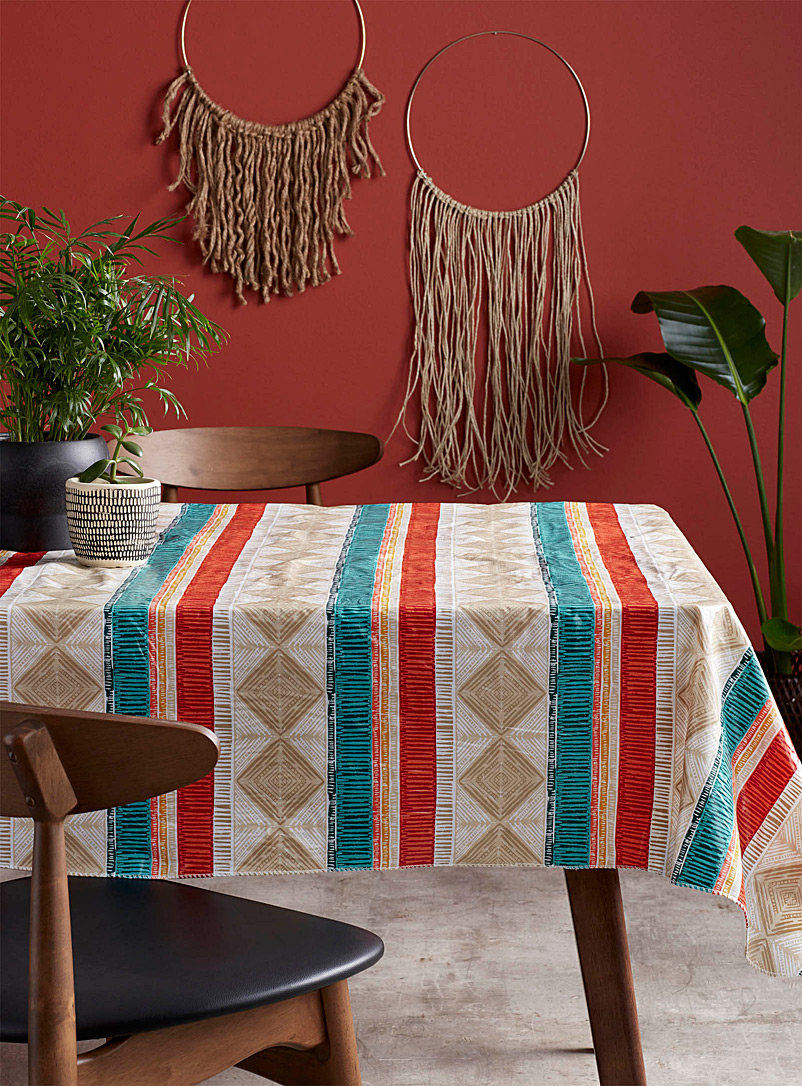 Harmony stripes vinyl tablecloth