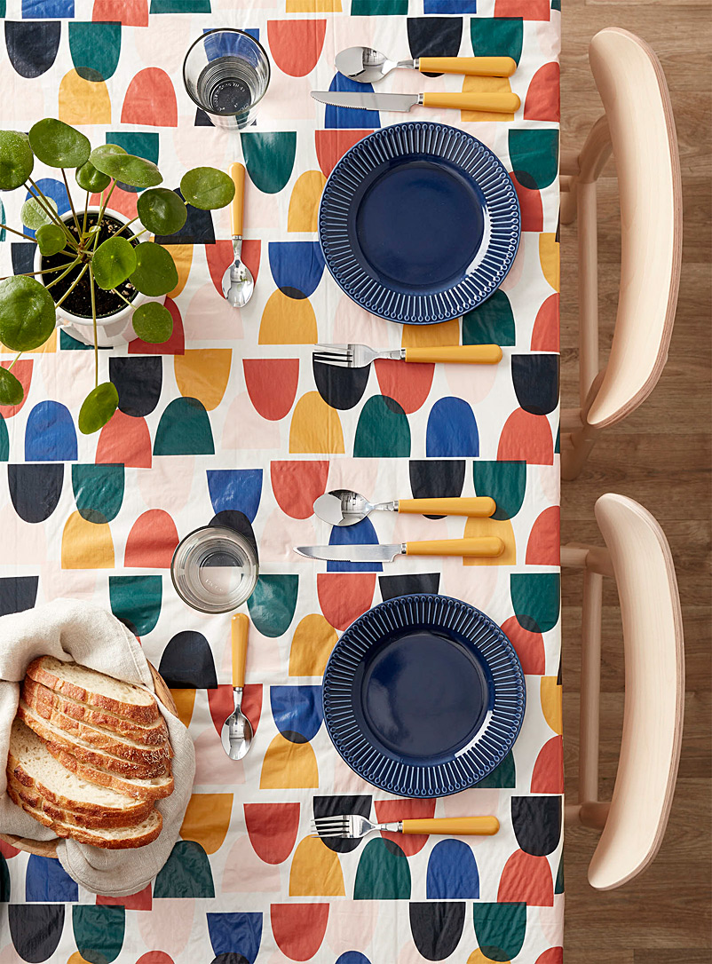 Multicolour pebble vinyl tablecloth