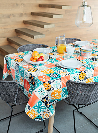 Colourful tile vinyl tablecloth