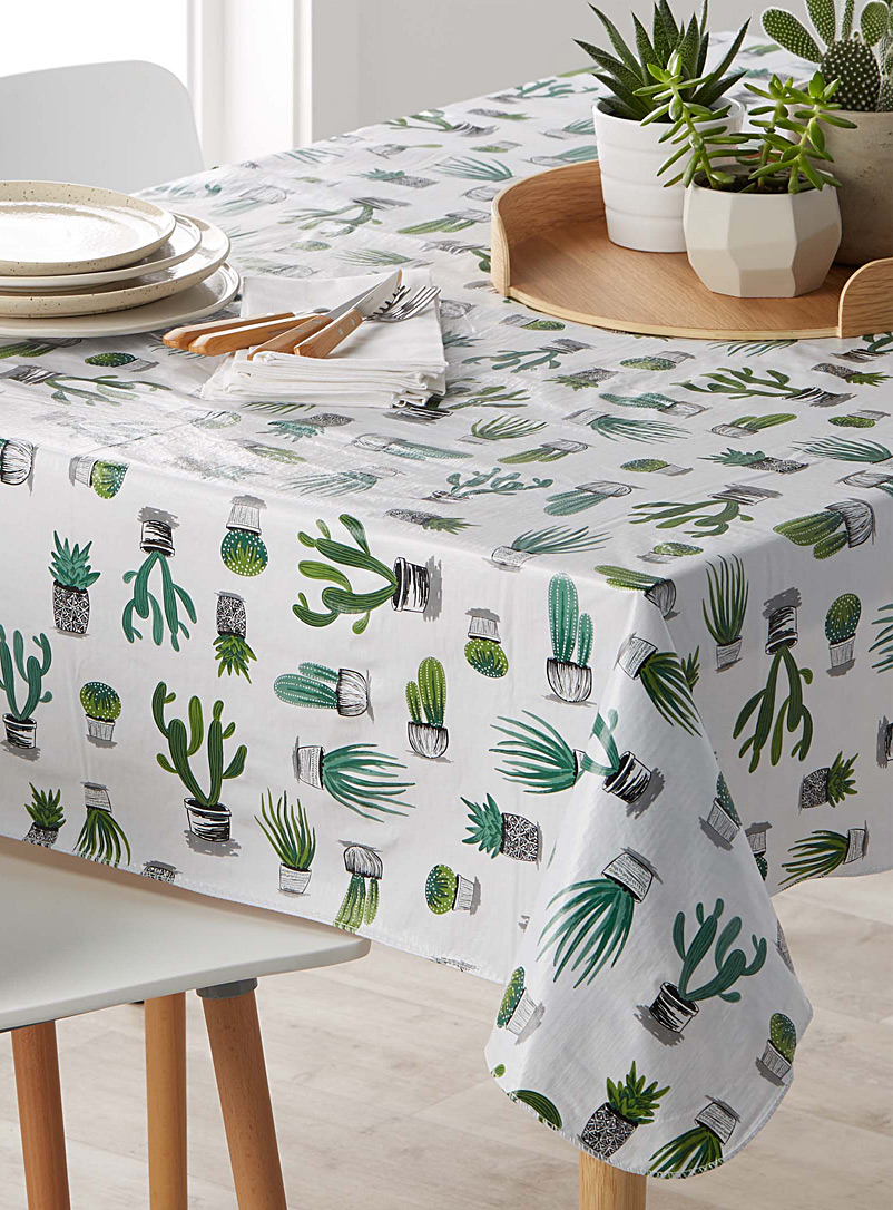Cacti And Succulents Vinyl Tablecloth   Vinyl   Assorted
