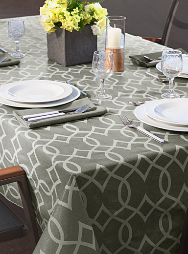 Geo trellis vinyl tablecloth    All sizes