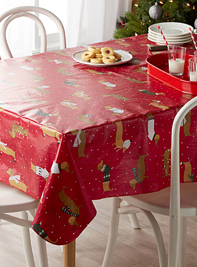 Holiday dachshund vinyl tablecloth