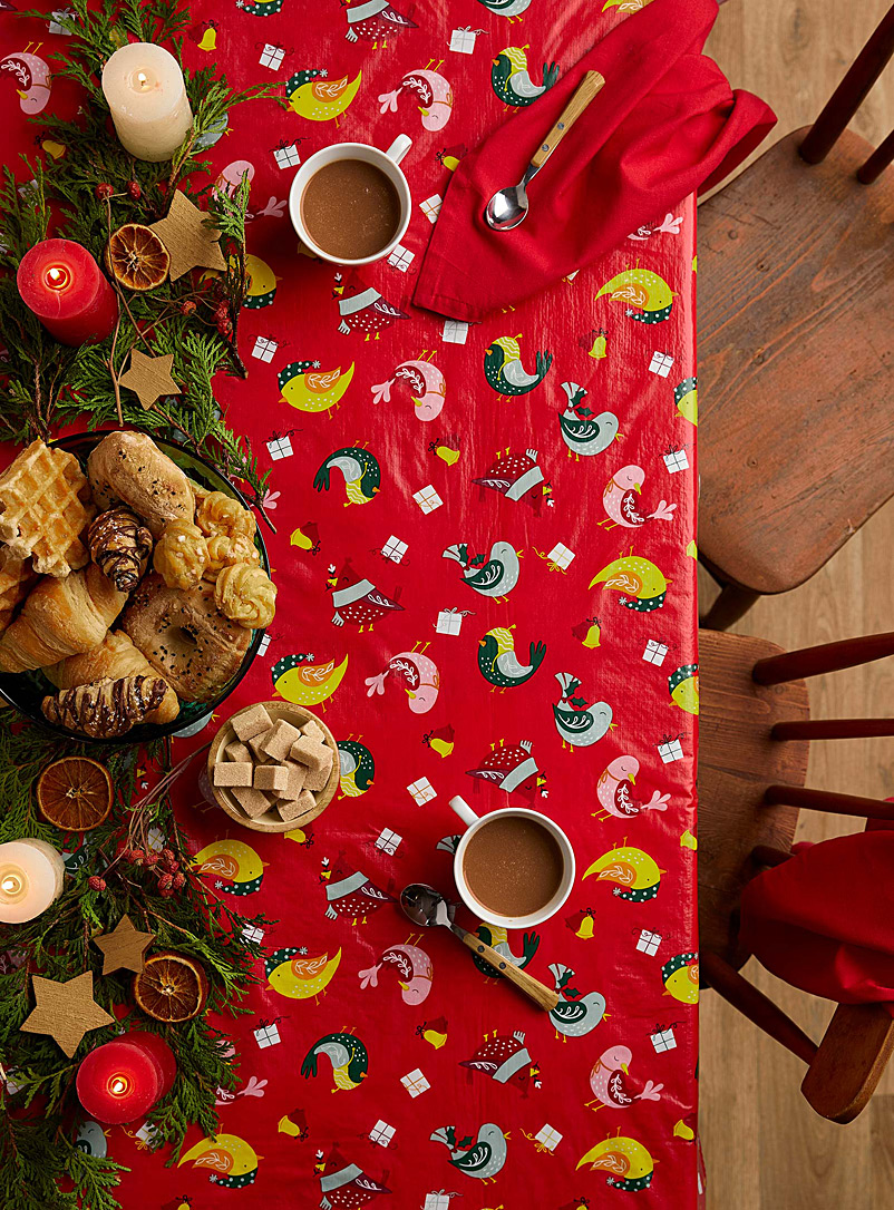 Festive birds vinyl tablecloth