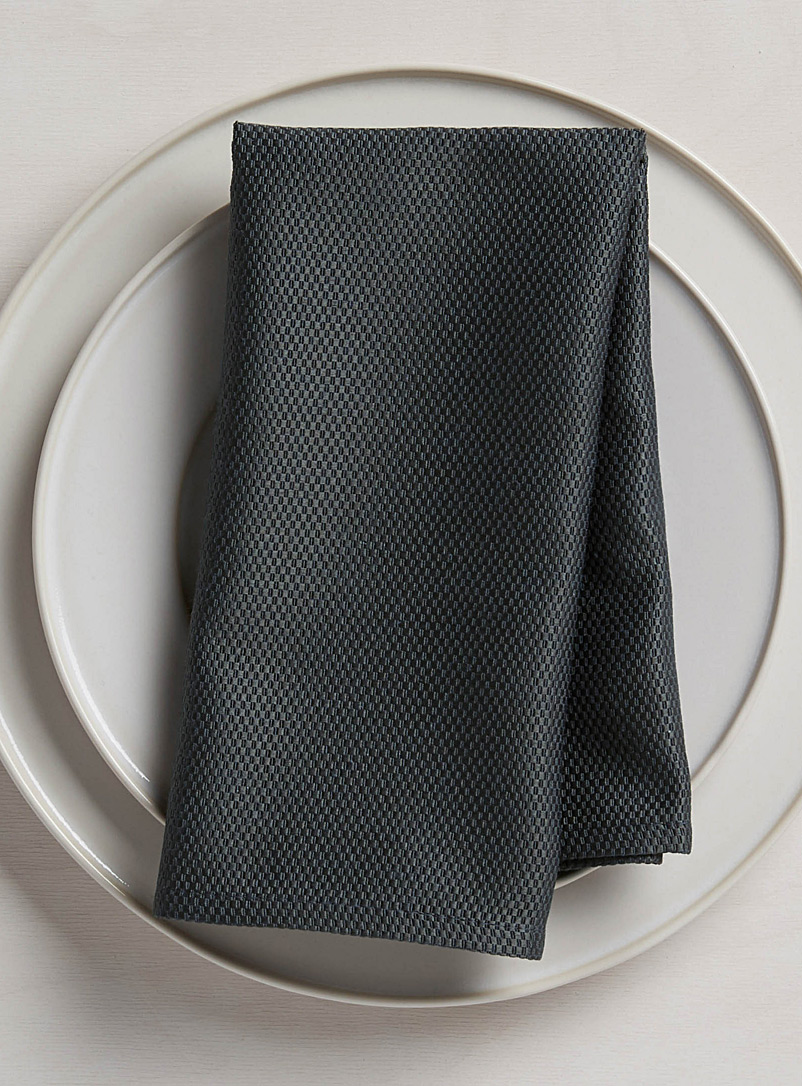 Woven micro-check napkin - Solid - Charcoal
