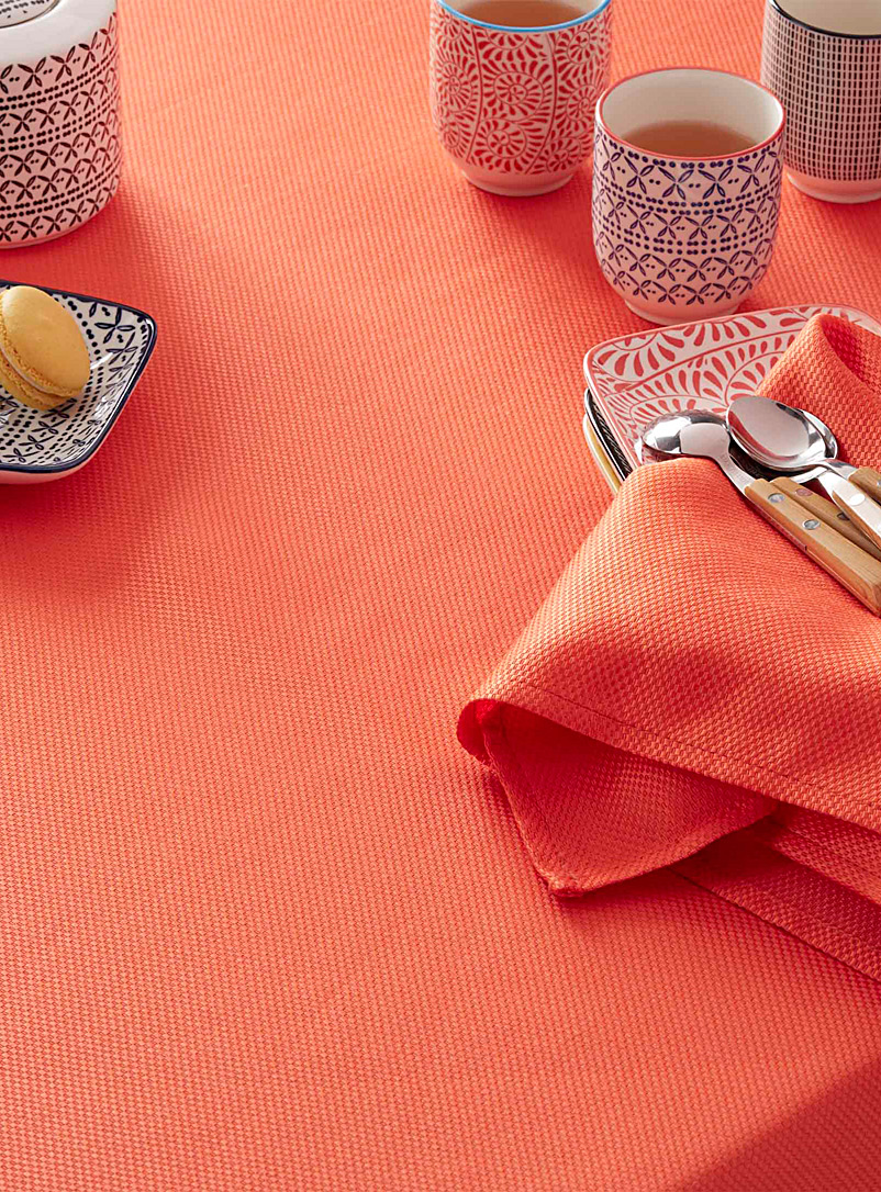 Woven micro-check tablecloth - Chic solids - Tangerine