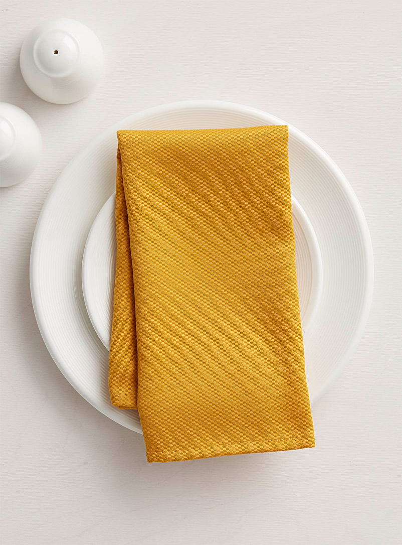 Simons Maison Dark Yellow Woven micro-check napkin