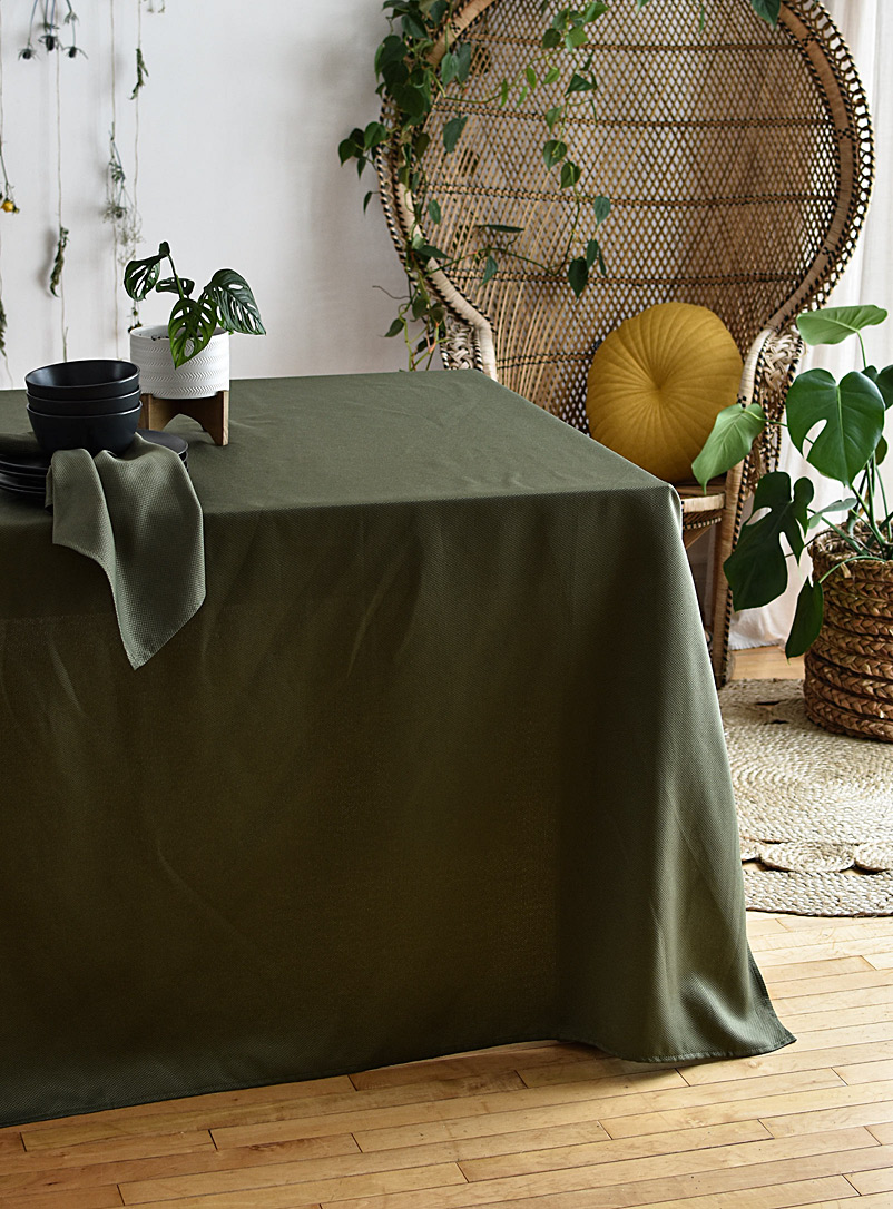 Simons Maison Mossy Green Jungle green woven micro-check tablecloth