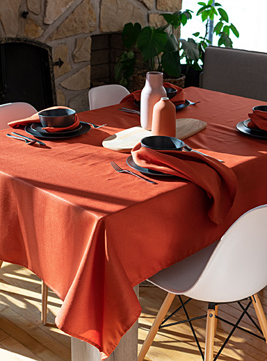 Terracotta woven micro-check tablecloth