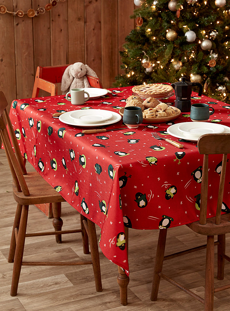Simons Maison Assorted Winter penguins tablecloth