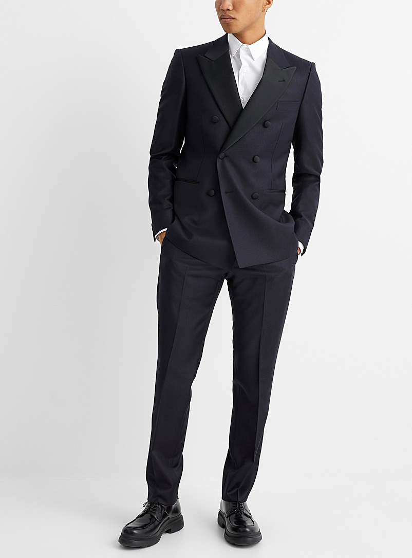 Emporio Armani Marine Blue Navy double-breasted tuxedo suit for men
