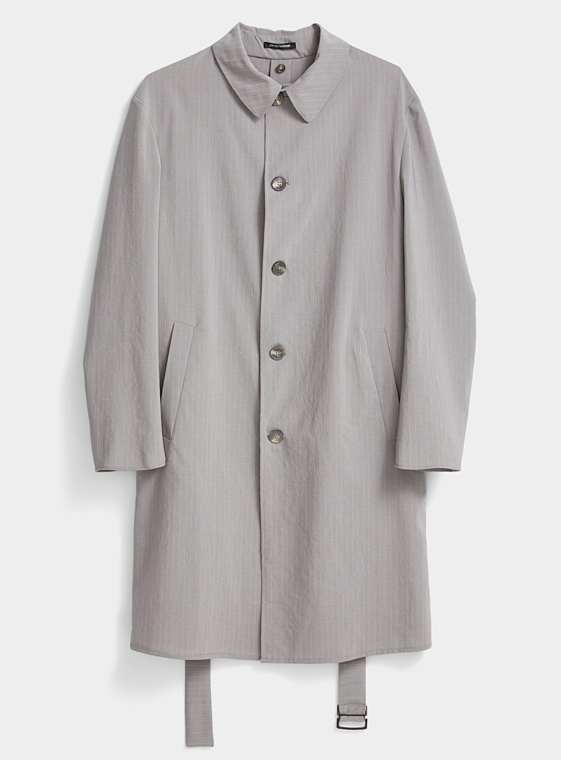 Emporio Armani Grey Tennis stripe overcoat for men