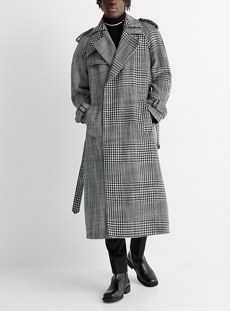 Emporio Armani Patterned White Oversized tweed trench for men