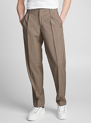 Pleated pure wool pant