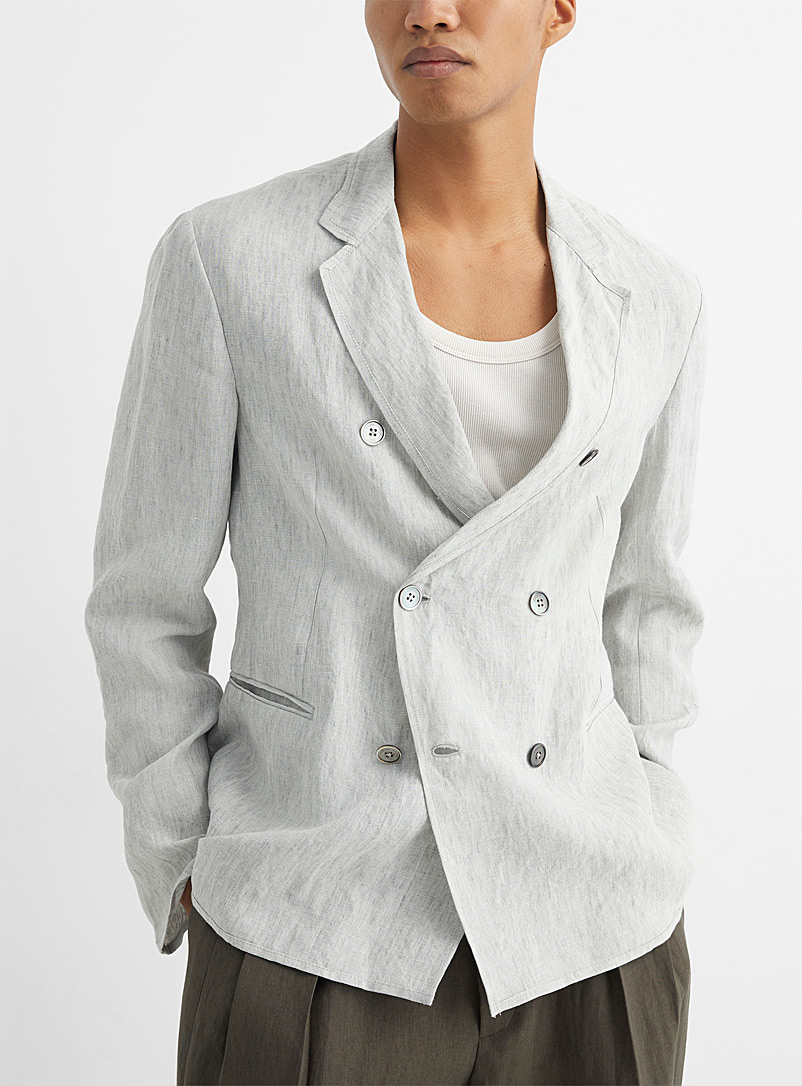 Emporio Armani Cream Beige Double-breasted heathered linen jacket for men
