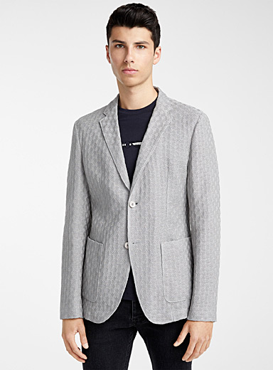 Emporio Armani Light Grey Knit blazer for men
