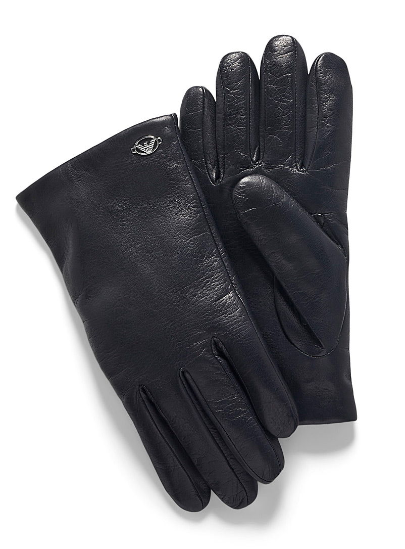Emporio Armani Black Soft leather gloves for men