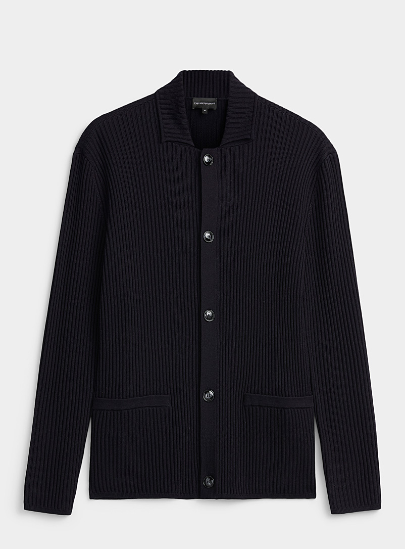 Emporio Armani Marine Blue Point collar ribbed cardigan for men