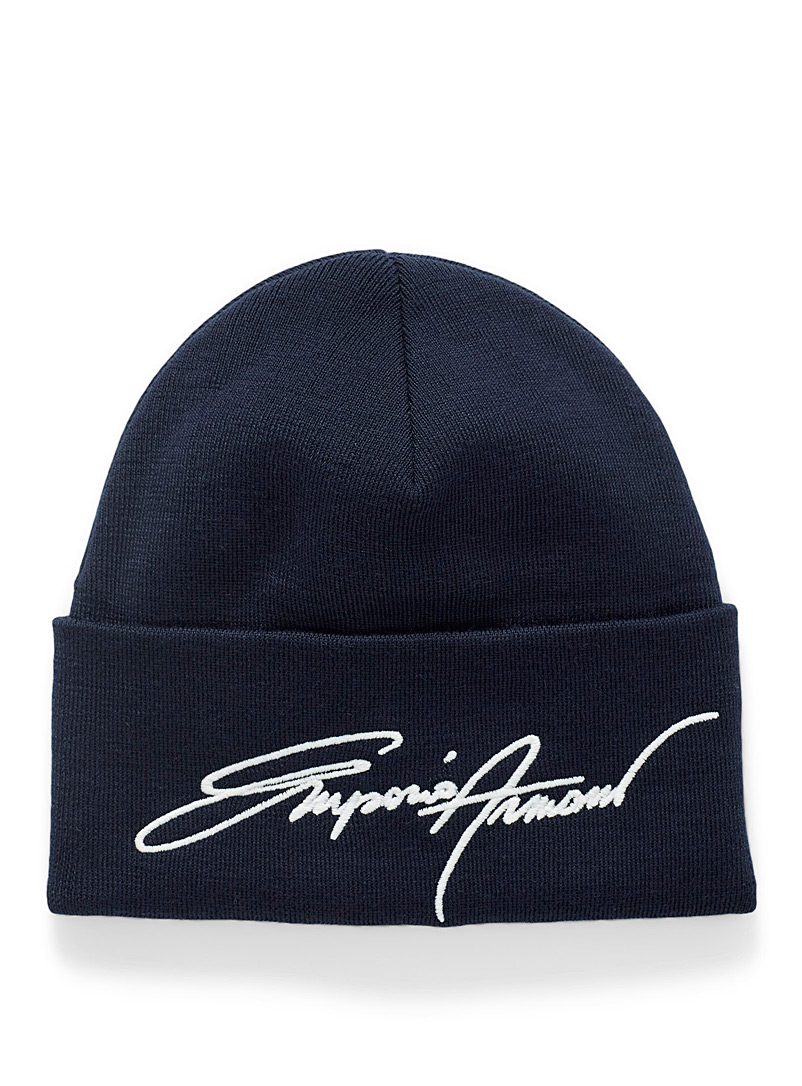 Emporio Armani Marine Blue Embroidered signature tuque for men