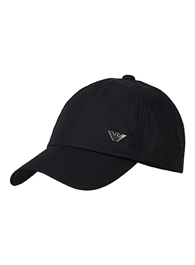 Emporio Armani Black Metallic logo cap for men