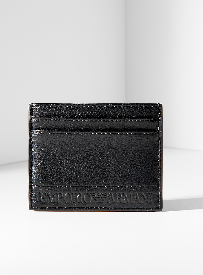 Emporio Armani Black Eco-friendly embossed card holder for men