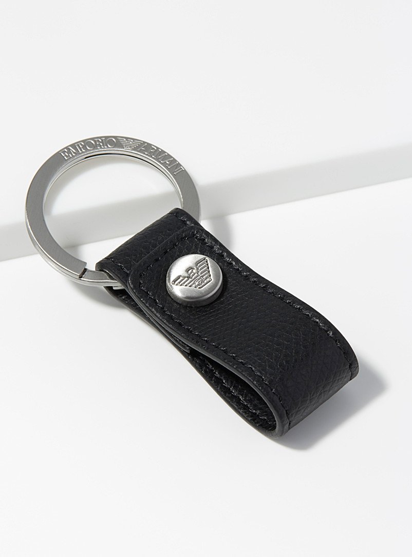 Pebbled leather keychain