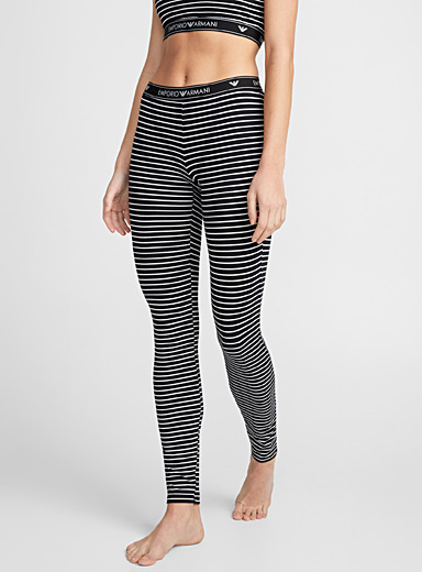 Logo band striped legging