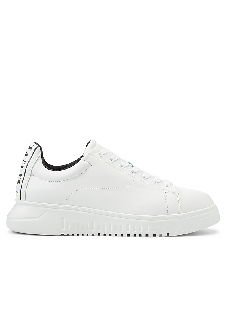 Emporio Armani White Contrast logo heel sneakers  Men for men