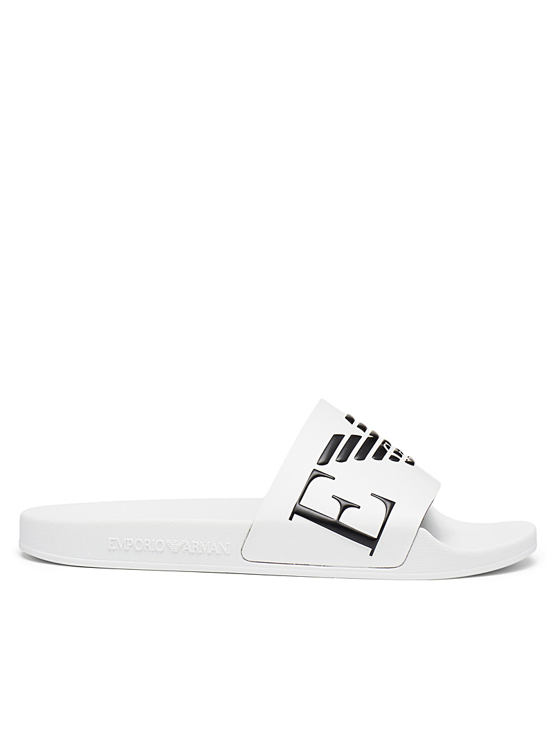 Emporio Armani White Eagle logo slides Men for men