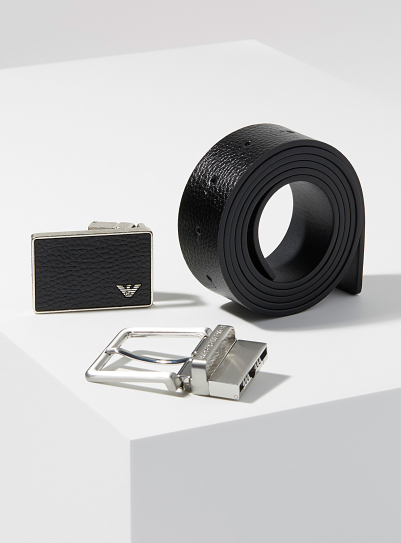 Emporio Armani Black Interchangeable buckle and belt set for men