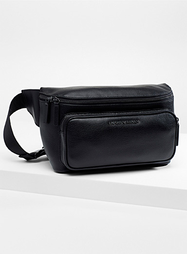 Emporio Armani Black Grained leather belt bag for men