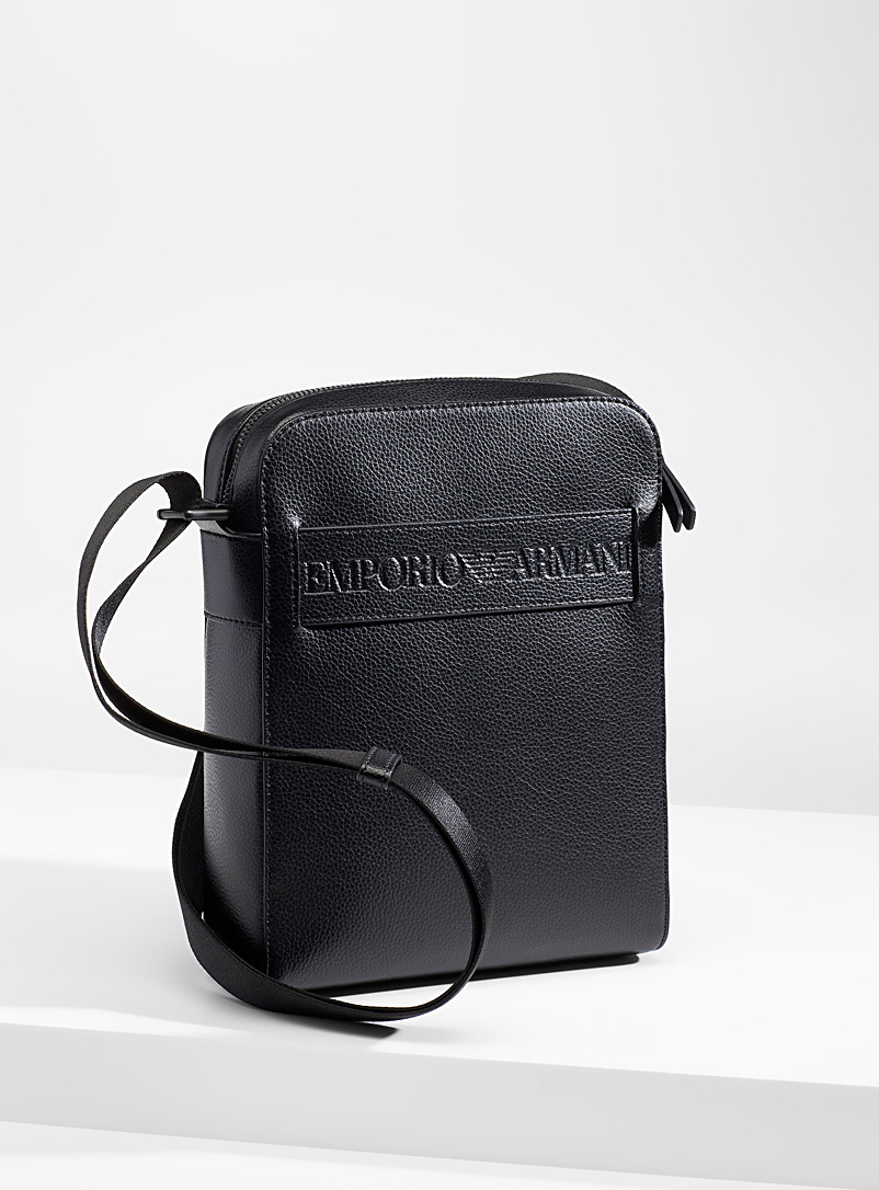 Emporio Armani Black Eco-friendly embossed shoulder bag for men