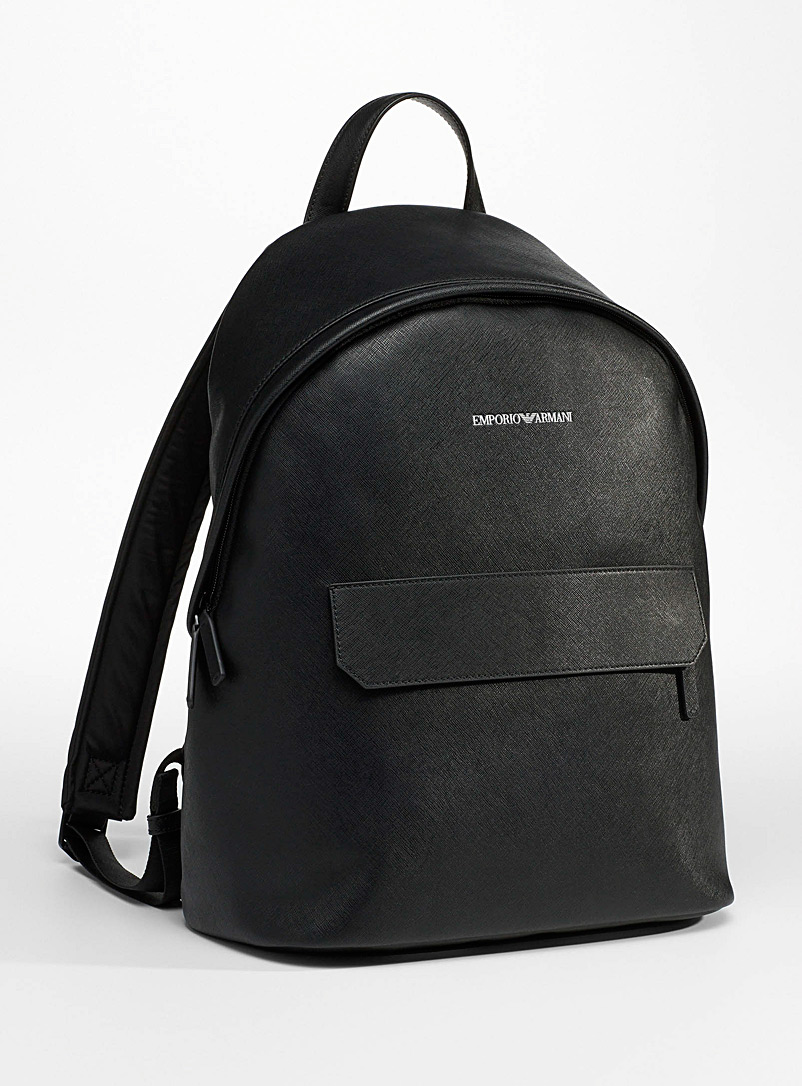 Emporio Armani Black Recycled leather minimalist backpack for men