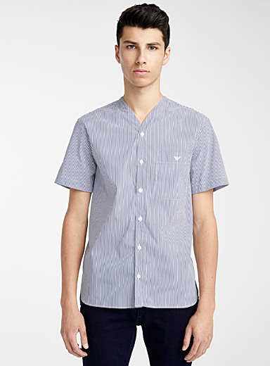 Emporio Armani Patterned Blue Striped shirt for men