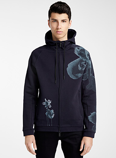 Emporio Armani Marine Blue Painterly flower hooded sweatshirt for men