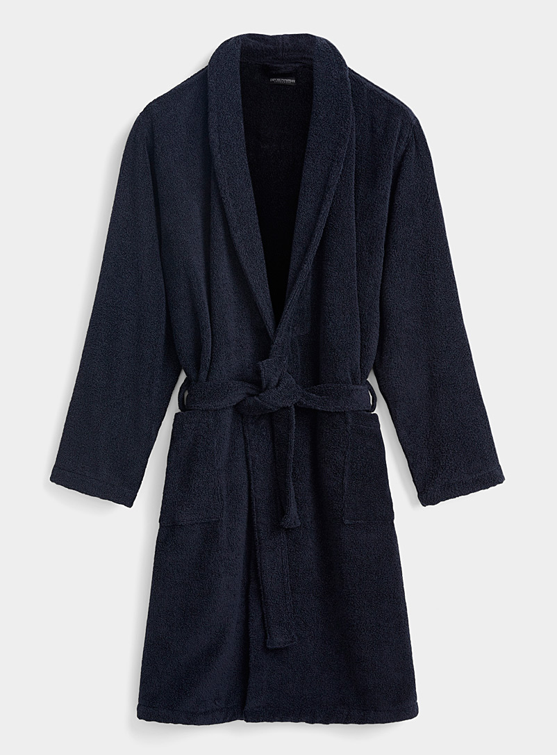 Emporio Armani Marine Blue Logo back terry robe for men