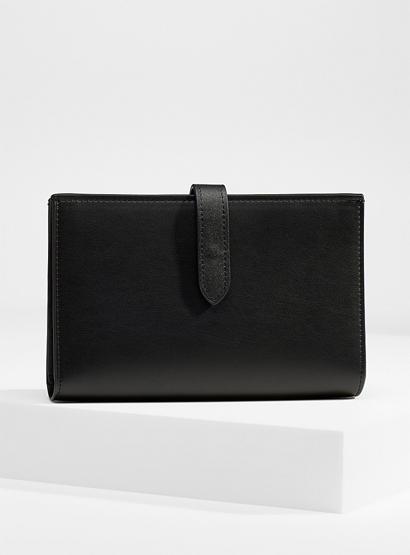Simons Black Large recycled faux-leather wallet for women
