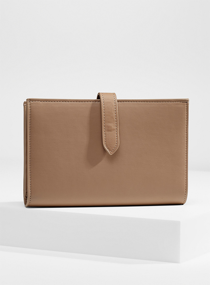 Simons Light Brown Large recycled faux-leather wallet for women